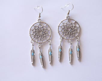 Earrings dream catcher silver and turquoise