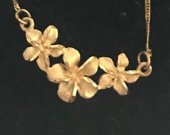 14K Plumeria Necklace