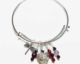 Be Charmed January Garnet Bangle Bracelet
