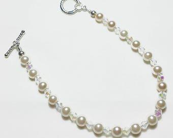Blush Pink Pearls Crystal AB Wedding Bridal Bracelet