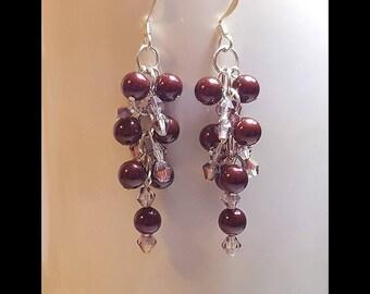 Burgundy Pearl Pink Crystal Cluster Beaded Earrings