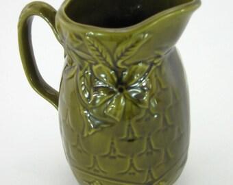 Olive green vintage majolica pitcher