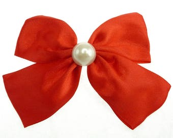 Clip hair pin-up bright red satin bow and Pearl cabochon
