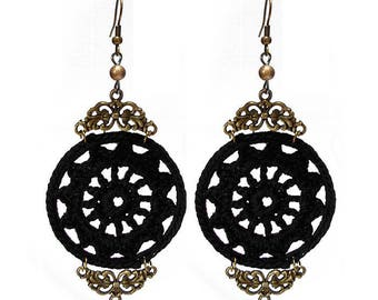 Large black hook - gold decor lace bronze earrings