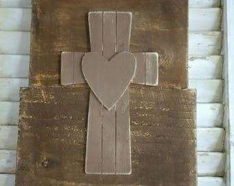 Cross with Heart on Rustic Distressed Wood Board Pallet Style