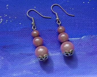 3 cup Pink Pearl Silver earrings