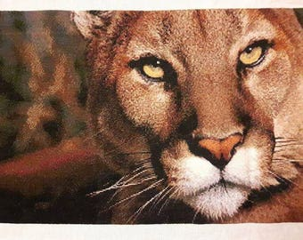 Mountain Lion - Large Completed Cross Stitch