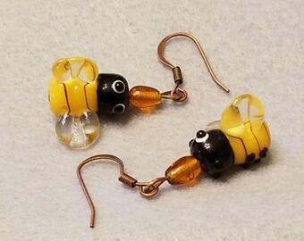 Bee earrings, honey bee earrings, lampwork glass earrings, bumblebee earrings, nature lover gift, woman's gift