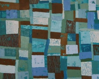 Painting, oil on canvas, abstract, sea, blue, Brown, painting, decoration, art