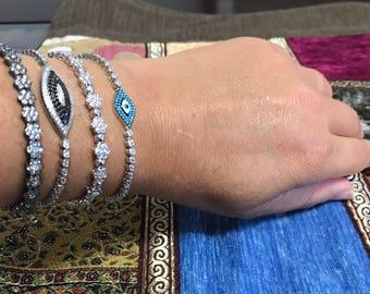 Sterling Silver, bracelet, black stones, gift