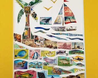 Postage Stamp Collage - Sailboat on the Ocean