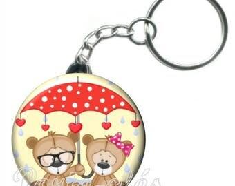 1 badge bear animal keychain