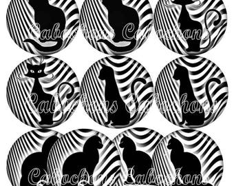 10 cabochons 25mm epoxy resin glue, cats silhouettes, black and white