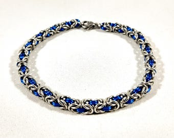 Blue Chainmaille Bracelet - Stainless Steel and Royal Blue Anodized Aluminum - Two Tone Byzantine Weave - Women's Bracelet
