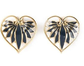 Vintage LANVIN Paris Golden black enamelled Vintage Earrings heart shaped. 1980. High fashion. French Vintage