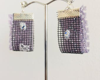 Vintage Swarovski Marquise Auroura Borealis Stitched Recycled Fly Screen Dangle Drop Industrial Celestial Bar Earrings