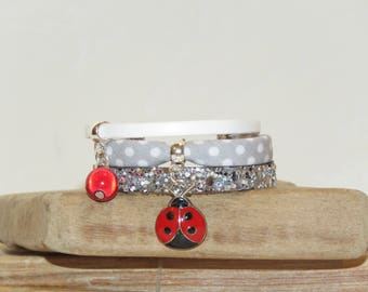 """The star of ladybugs"" girl Cuff Bracelet leather, bias peas, suede, white color."