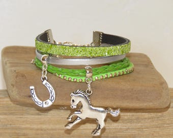 "Cuff Bracelet for girl ""my horse"" leather glitter, leather, suede - Apple green color"
