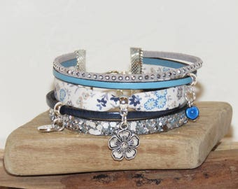 """""""Blue flowers"""" leather, leather Cuff Bracelet with glitter, liberty fabric with flowers, sky blue color."""