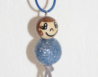 "Necklace for girls - snowman with wooden beads ""smile ball"" fully customizable and hand painted figurine"