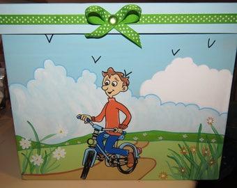 Birthday box, bike, helmet, glove, ride, promende campaign, ATV, green, blue color, customizable
