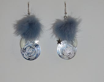 "Tassel earrings blue fur, spiral print, Star charms, ""earrings Poumpoumpidou"" shuttle Pimprenellecreations"