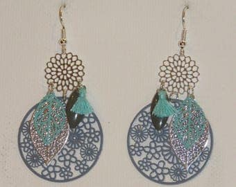Earrings silver, turquoise, gray leaves, flowers, prints, dangling earrings earrings