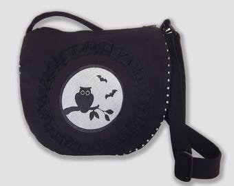 Crossbody bag with owl and the full moon