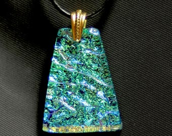 Sparkly Green and Gold Dichroic Glass Pendant