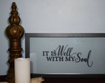 Vinyl Hymn Text On Glass Framed Art