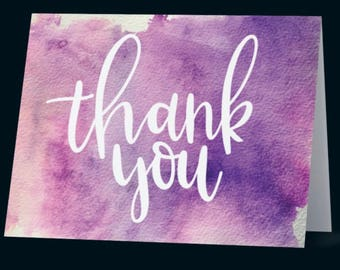 Printed hand lettered thank you card