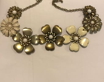 Large statement flower necklace