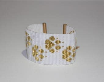 Prints woven bracelet in Miyuki beads
