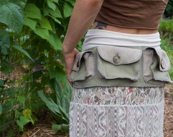 100% Hemp Canvas Pocket Belt (M) Green/Taupe