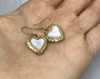 UNIQUE 14k Mother of Pearl Heart Drop Shaped Earrings GIFT Love