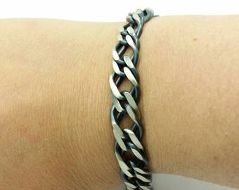Italian 925 Solid Sterling Silver  Brushed Gun Metal Finish  Mens Double Cable Flat  Bracelet Boyfriend Gift
