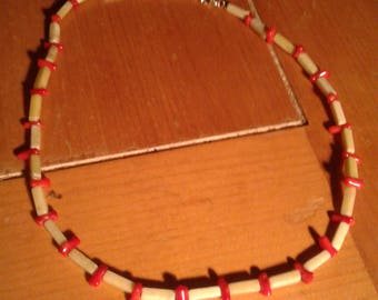 Jade & coral necklace