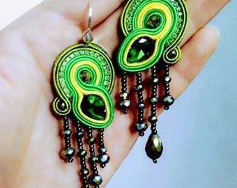 HANDMADE earnings witn silk gemstone, Mongolian handmade earnings bridesmaid gift dainty earrings Gypsy jewelry stone jewelry