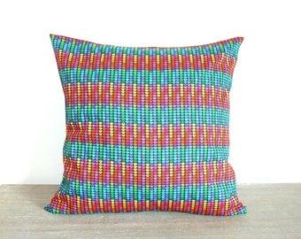 Housse de coussin 40 x 40 cm, taie d'oreiller, style rétro et disco, tissu motifs petits coeurs multicolores
