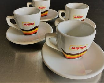 Vintage and Hard to Find Ceramic Caffe Mauro Espresso Cups and Saucers - Set of Four - Porcelain