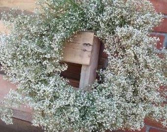 """16"""" DRIED Babys breath wreath, wedding Wreath, Mantel Wreath, Rustic Decor, Dried Flower Wreath, Wedding decor, Dried Wreath"""