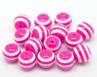 10mm - 20 beads Fuchsia and white