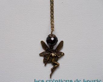 Fantasy fairy necklace bronze and black faceted bead