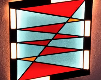 Stained Glass LED Lamp No.05. Geometric Wall Art. Stained Glass Panel. Stained Glass Art. LED Lights Wall Lamp. Contemporary Wall Lamp.