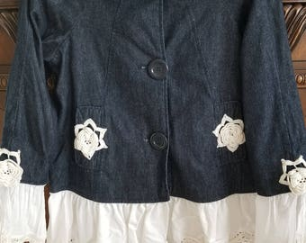 Custom denim jacket with vintage lace trim
