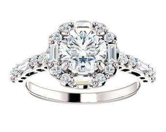 Forever One Moissanite Engagement Ring- Kira | round | halo moissanite engagement ring