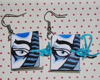 Pair of earrings books Samurai (book earrings)