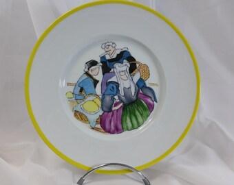 "Limoges porcelain, hand painted plate (""butter"", by Mathurin Méheut)"
