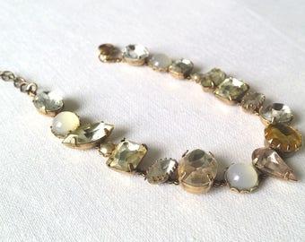 Vintage Bracelet Glass Rhinestones Metal Lobster claw closure 1980s old bijou jewelry OOAK