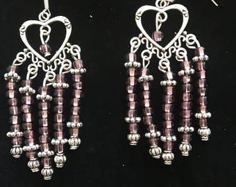 Purple Heart chandelier earrings